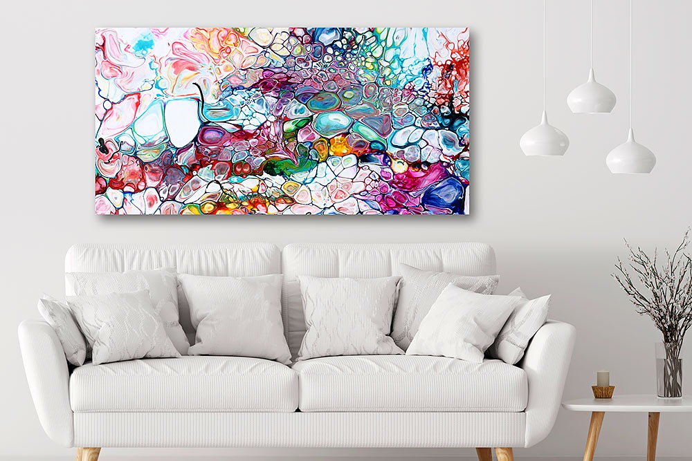 Wunderschöne Kunst auf Leinwand in Großformat für die Wohnung Prime I 70x140 cm
